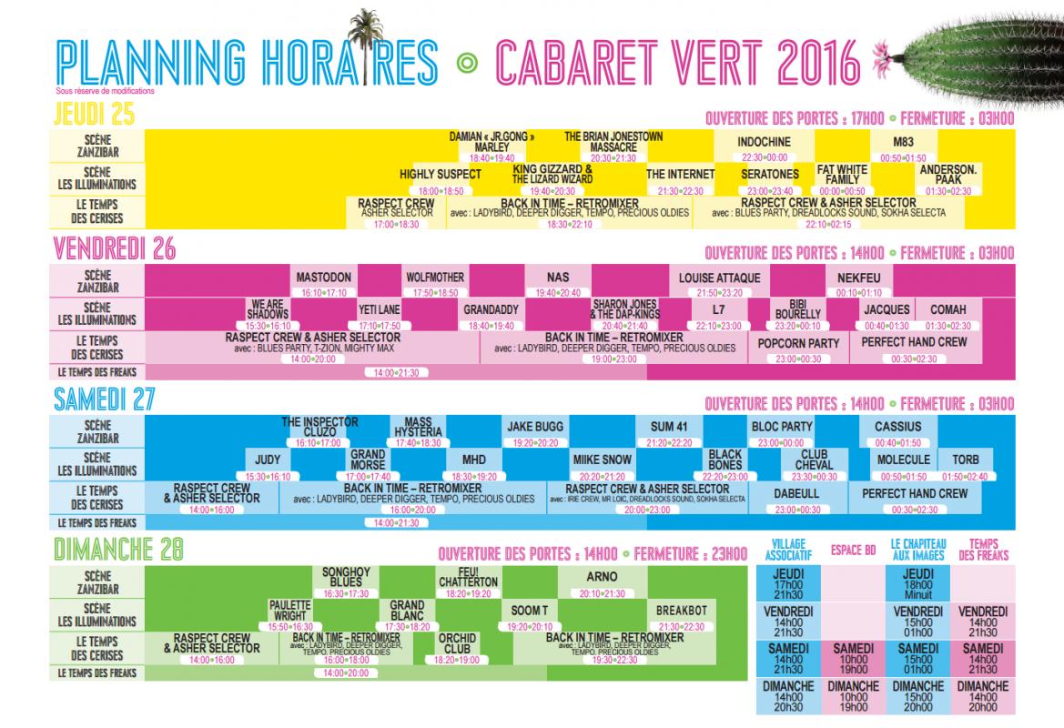 Cabaret vert line up